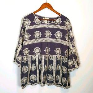 Indigo Thread Co. Embroidered Top